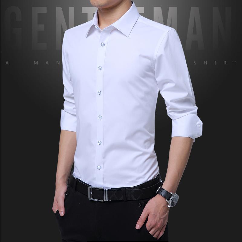 2020新品长袖衬衣青年四季纯色修身韩版休闲商务衬衣绅士正装
