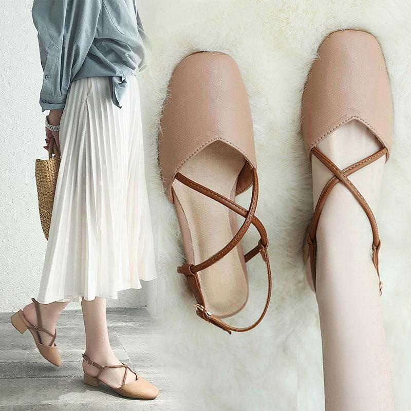 女鞋女2019夏季新款凉鞋鞋中跟复古方头v女鞋带奶奶包头粗跟高跟鞋