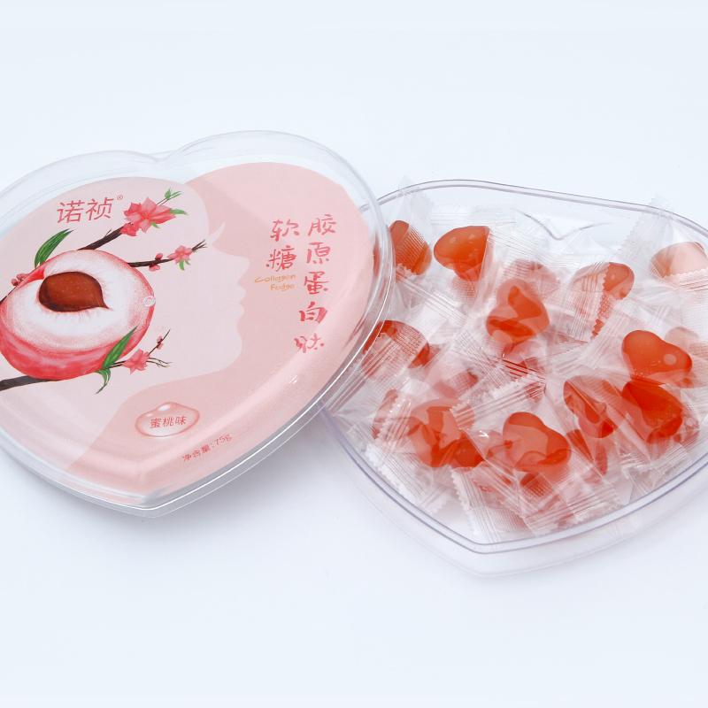 诺祯胶原蛋白软糖小分子精华凝胶蜜桃味水果糖精美爱心礼盒装正品