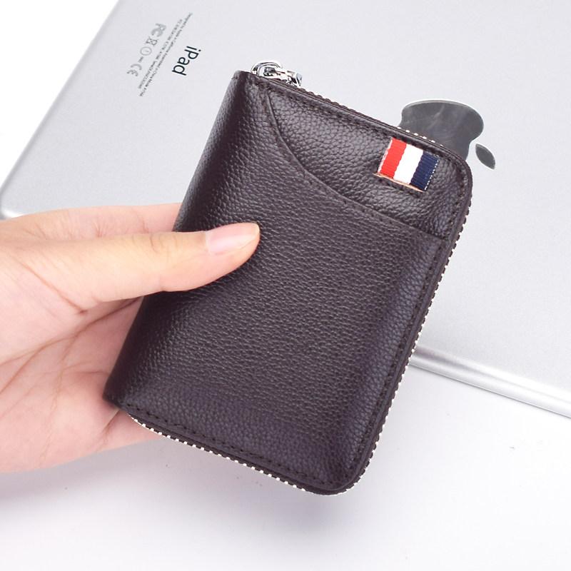新款牛皮小卡包男式多卡位卡片包女式真皮拉链风琴卡包证件零钱包