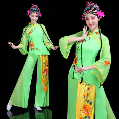 Chinese folk dance costumes for women classical dance opera Yangko fan dance suit performance Costume