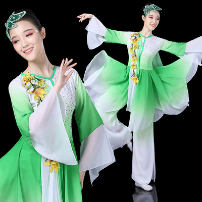 Chinese folk dance costumes for women Classical dance performance dress elegant Chinese FAIRY DRESS fan dance suit for adults