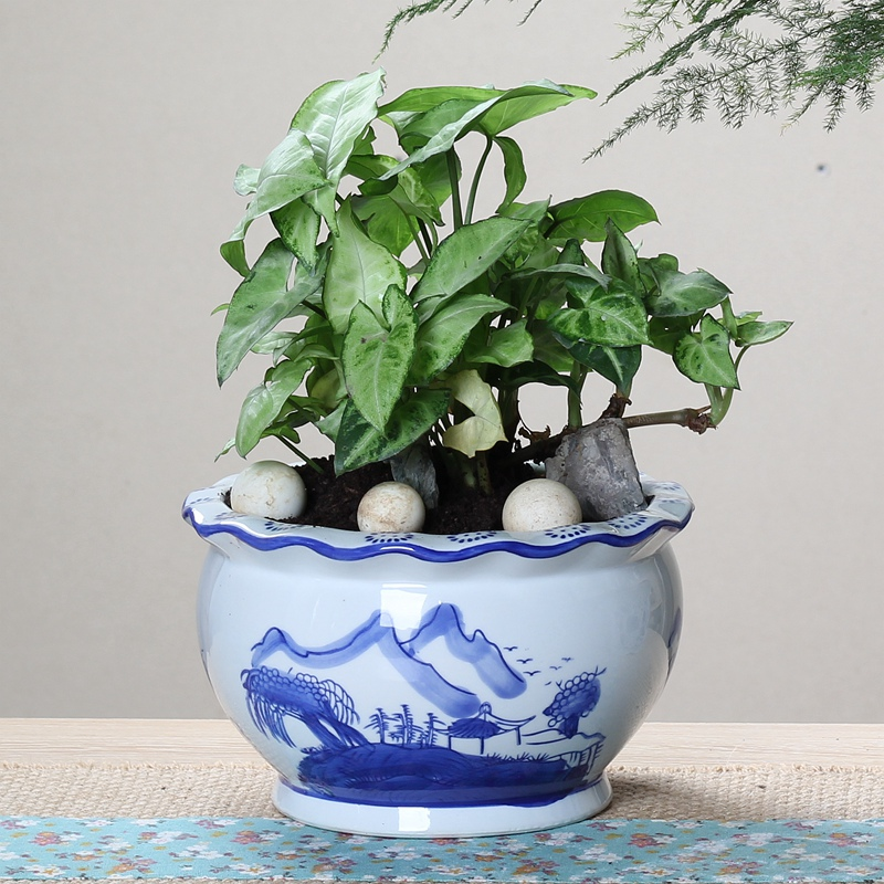 Full 10 Yuan Shipping Blue And White Porcelain Flower Pot Ceramics Clivia Chinese Style
