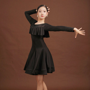 Girls Latin Dance Dresses Children Latin dance training clothing girls big children loose international competition professional dress