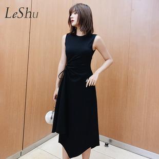 乐属春季新款时尚不规则气质小黑裙