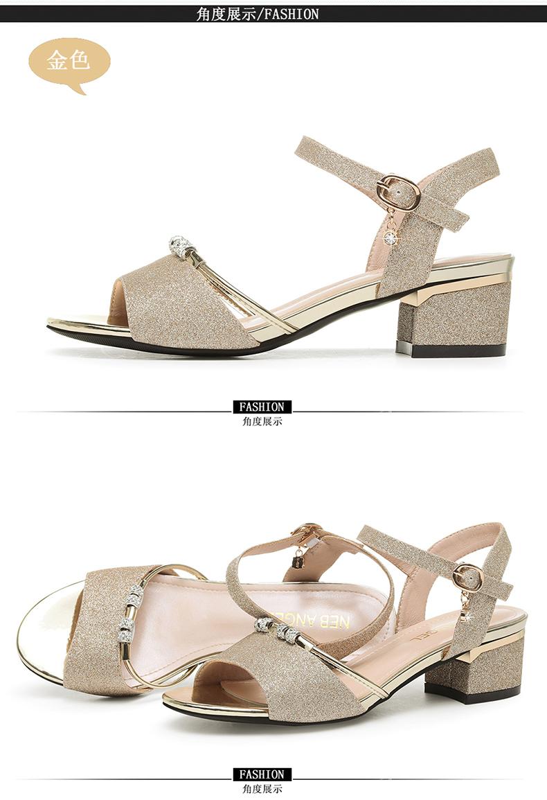 欧仪中跟凉鞋女年新款夏天女士时装百搭水钻一字带粗跟高跟鞋详细照片