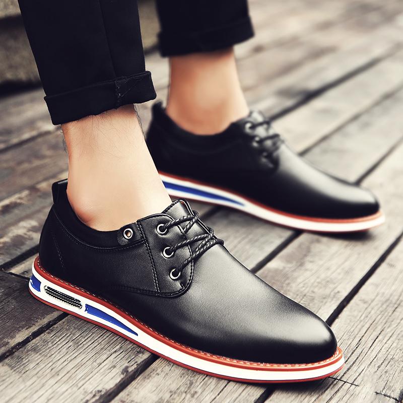 皮鞋男韩版潮流英伦冬季加绒棉鞋潮鞋百搭青年商务男士休闲小皮鞋