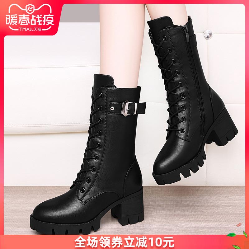 马丁靴粗跟高跟英伦风加绒短靴子中筒靴2019秋冬季新款百搭女鞋子