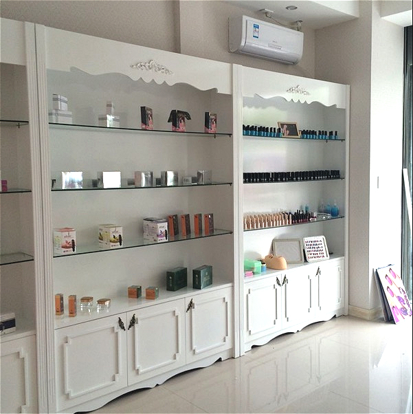 Paint European Style Cosmetics Display Cabinet Beauty Salon Display  Container Display Cabinet Store Men And