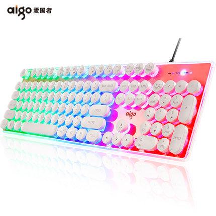 爱国者W649水晶键盘有线朋克复古背光电脑笔记本台式办公家用发光外接USB有线键盘lol吃鸡机械手感游戏键盘