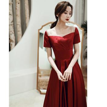 Уважение ликер одежда невеста 2020 новый осенью и зимой свадьба темперамент небольшой рост вино обычно носить платья тонкий, цена 4069 руб