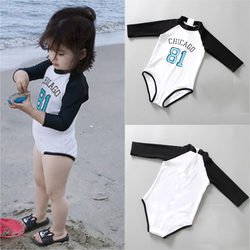 Children's swimwear girls one-piece long-sleeved sunscreen quick-drying wetsuits, children and baby princess hot spring swimming suits