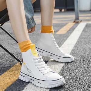 秋季新款!系带时尚小白靴女