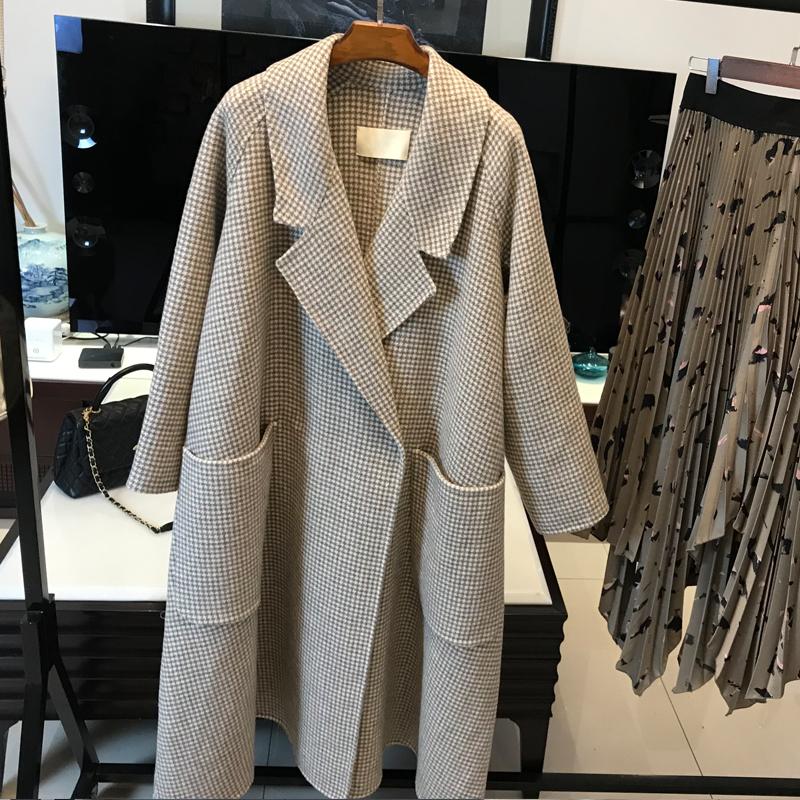 """韩国进口千鸟格双面羊绒大衣""""高段位""""的时髦感 无缝成型, 矜贵"""
