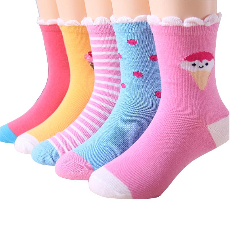 儿童短袜纯棉中筒女童宝宝袜子1-3-5-7-9岁小学生女孩秋冬款保暖