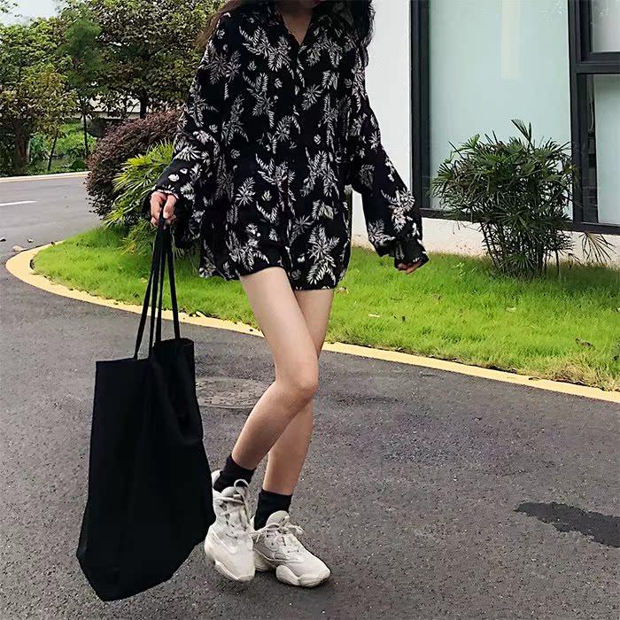 新款秋季韩版外套宽松复古衬衫印花衬衣树叶女装灯笼防晒长袖2018
