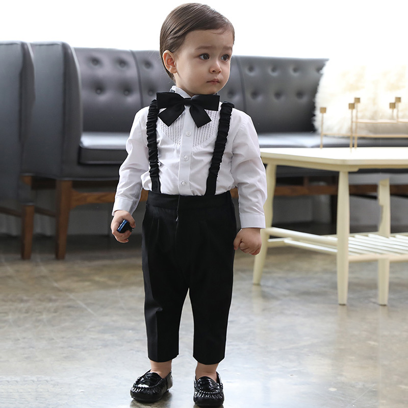 Children's suit suit boy's first birthday suit boy's three-piece flower boy suit baby suit summer