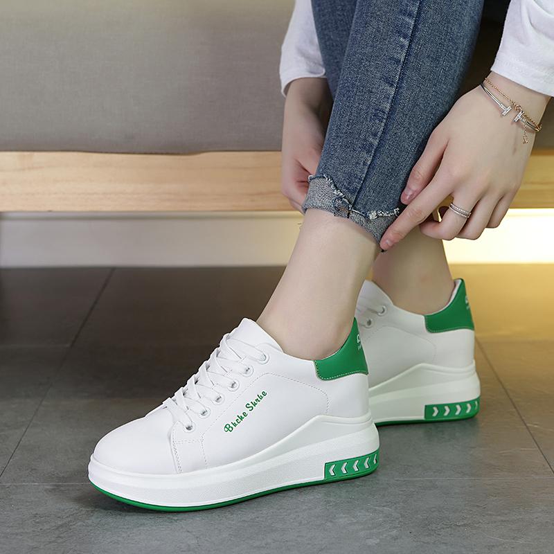 白色内增高女鞋春季2020运动鞋女新款百搭厚底休闲鞋小白夏季镂空