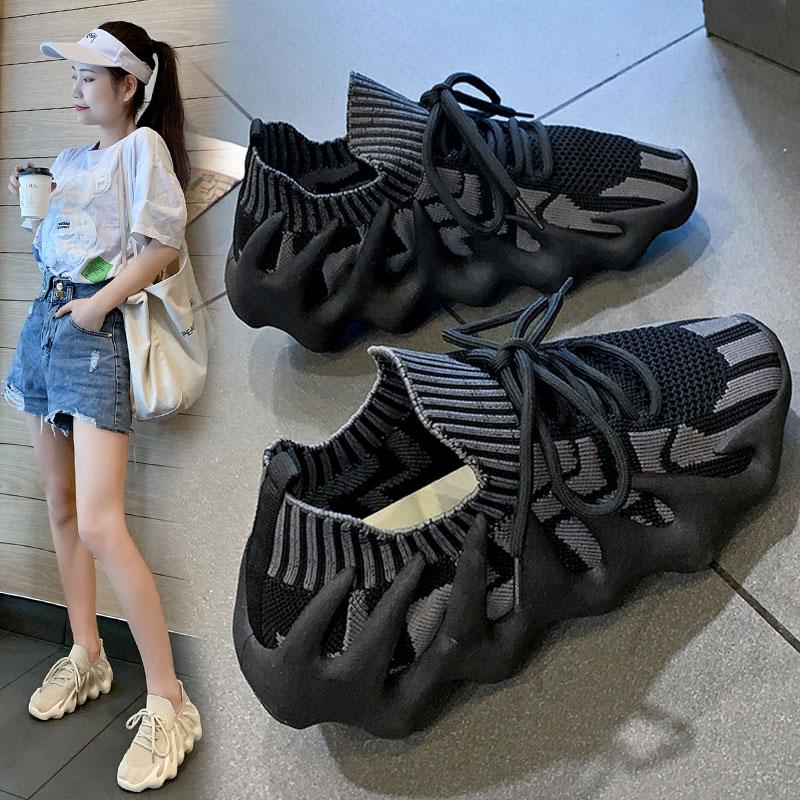 情侣火山椰子450运动鞋网红八爪鱼老爹鞋女夏新款小笼包飞织男鞋