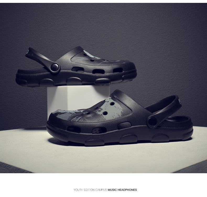 凉拖鞋2020夏季新款洞洞鞋男士防滑软底情侣沙滩鞋男潮包头凉鞋男商品详情图