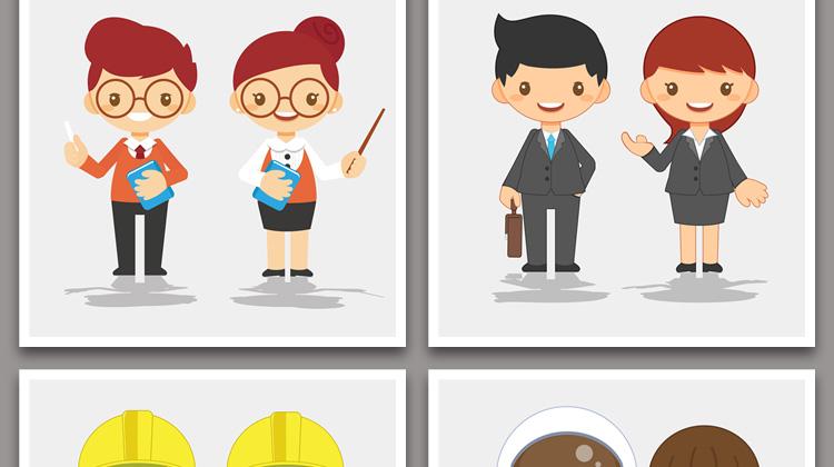 鲜榨果汁店效果图_扁平化卡通可爱q版职业人物图案矢量eps插画儿童设计背景素材图片
