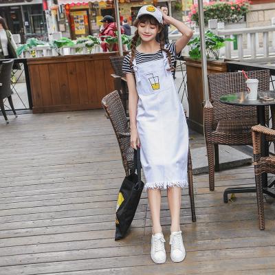 02牛仔连衣裙女2019夏季韩版新款时尚宽松背带裙无袖背心长裙过膝