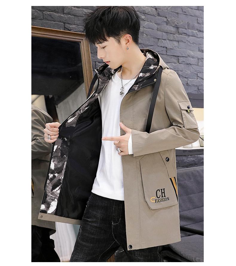 Men's windshield spring and autumn fashion wave brand handsome clothes 2020 new winter plush warm jacket medium long jacket 58 Online shopping Bangladesh