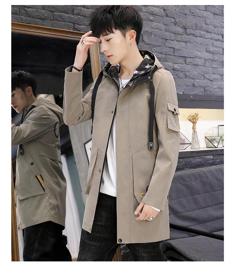 Men's windshield spring and autumn fashion wave brand handsome clothes 2020 new winter plush warm jacket medium long jacket 56 Online shopping Bangladesh