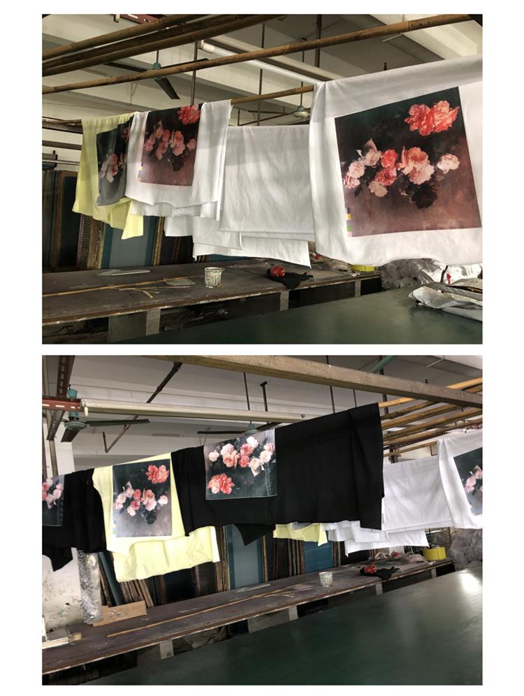 【现货】自主油画玫瑰印花卉男女宽鬆短袖恤详细照片