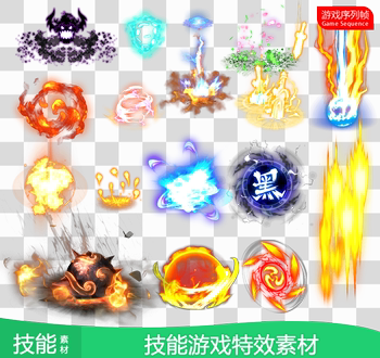 36 set cartoon style explosion effect skills PNG sequence frame hand travel web legendary game art material Z261