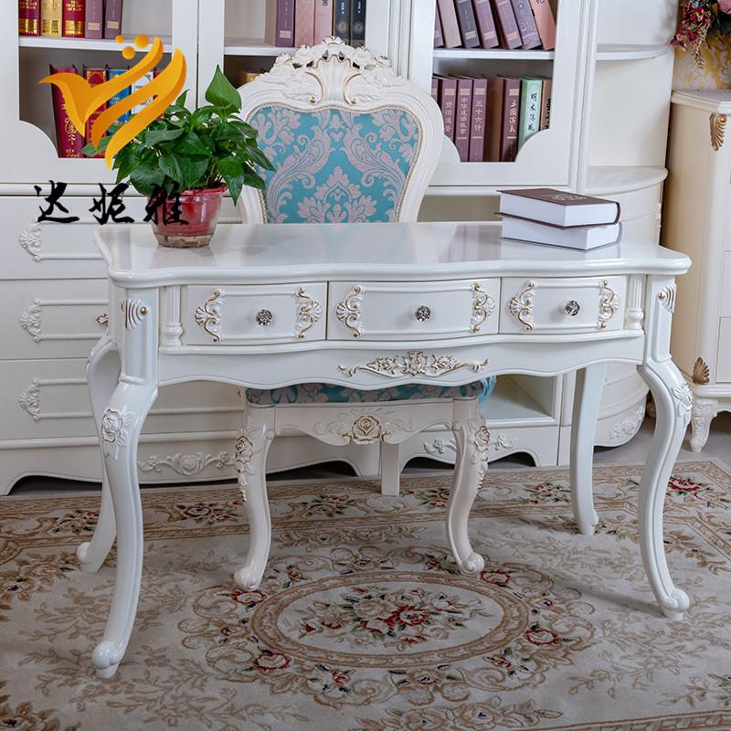 欧式书桌田园桌美甲桌学生写字台多功能北欧靠墙桌前台电脑办公桌