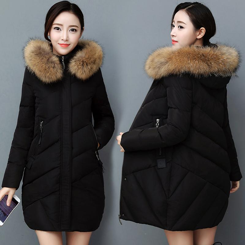 Chống mùa Hàn Quốc phiên bản của phần dài 2018 mới xuống áo khoác của phụ nữ trùm đầu lớn cổ áo lông thú dày mỏng áo giải phóng mặt bằng đặc biệt