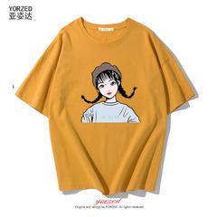 短袖T恤女夏天新款韩版学生可爱bf风半袖宽松百搭T恤ins短款上衣