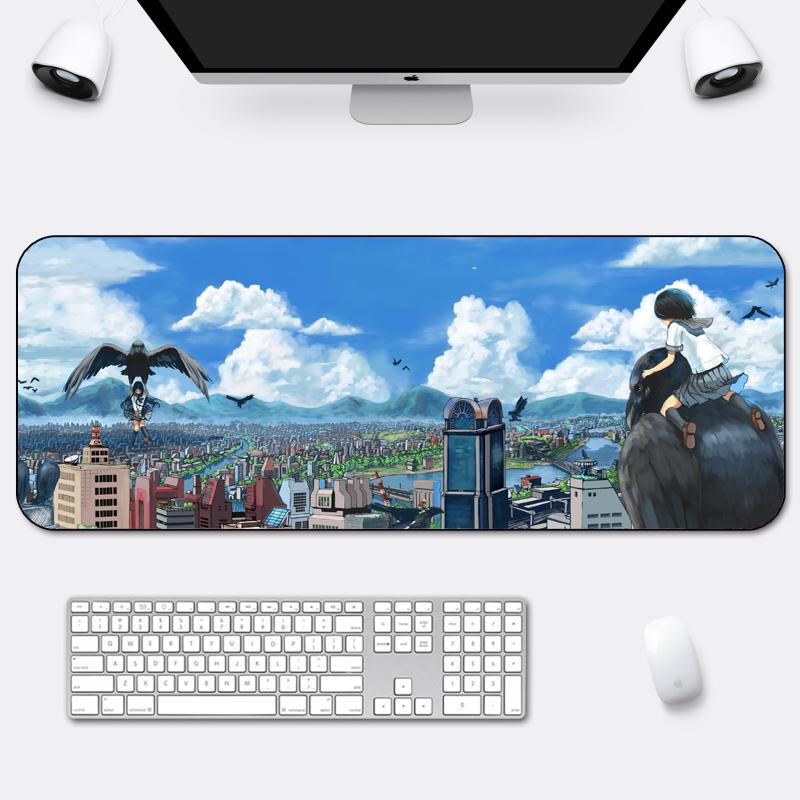 办公鼠标垫超大加厚锁边风景创意可爱动漫小号电脑笔记本家用桌垫_领取3元天猫超市优惠券