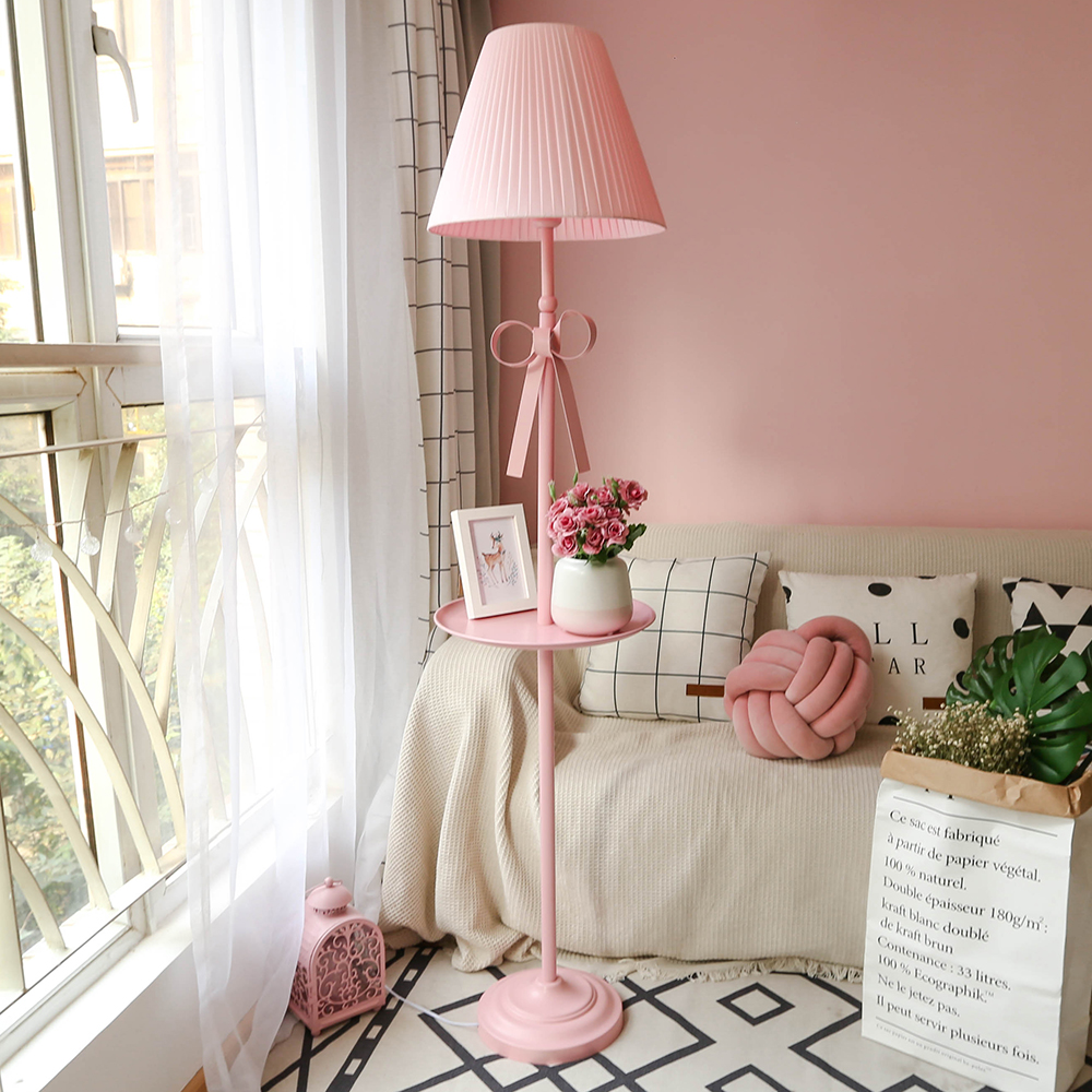 Nordic Style Princess Girls IKEA Creative Standing Floor Lamps Bedroom For  Children Tenants Hall Pink Tall Table Lamps