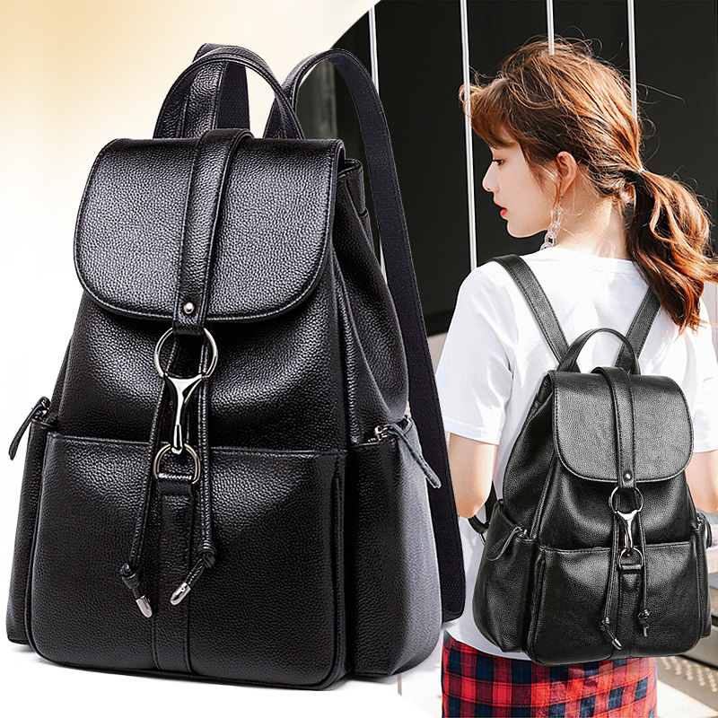 2019 new leather shoulder bag female Korean Tide College wind bag Travel Backpack soft leather first layer of leather handbags