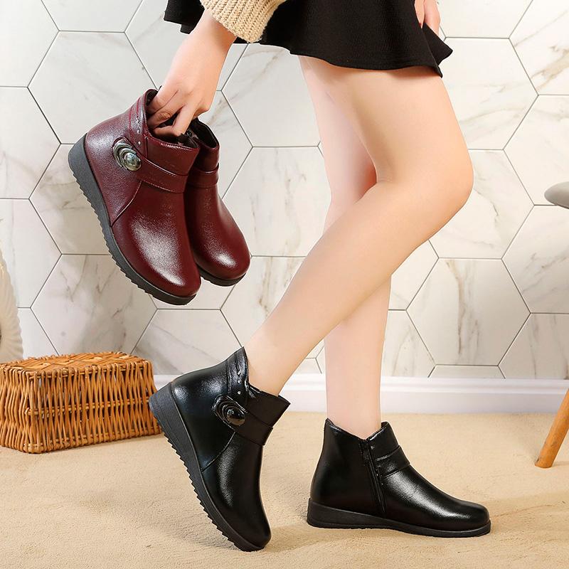 妈妈鞋冬季棉鞋加绒平底防滑保暖老人短靴中老年女鞋皮鞋中年冬鞋