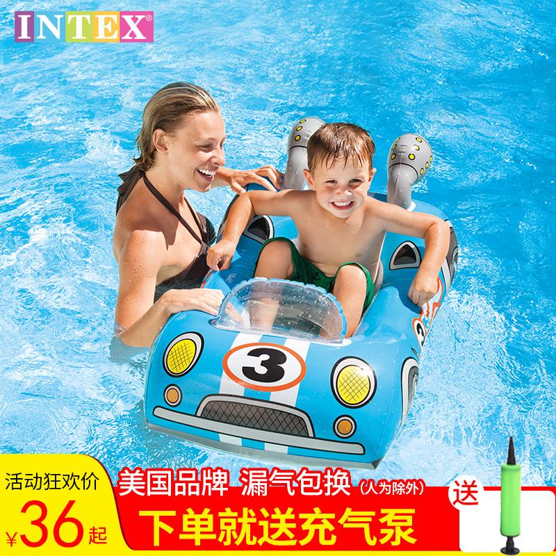 INTEX动物游泳圈卡通腋下圈加厚充气BB戏水婴儿儿童浮圈