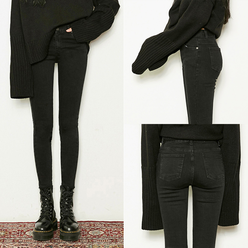 Black high waist jeans female was thin was high hole 2019 autumn tight Korean version of the nine pants slim smoke tube pants