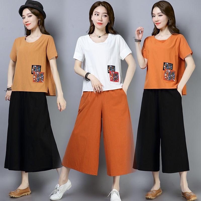 2019夏季新款大码棉麻时尚套装复古纯色短袖T恤+阔脚裤大码两件套