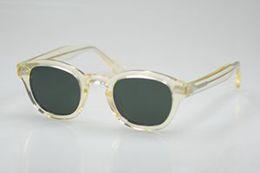 18274646e47 Retro Vintage Johnny Depp polarized sunglasses yellow crystal frame green  lenses