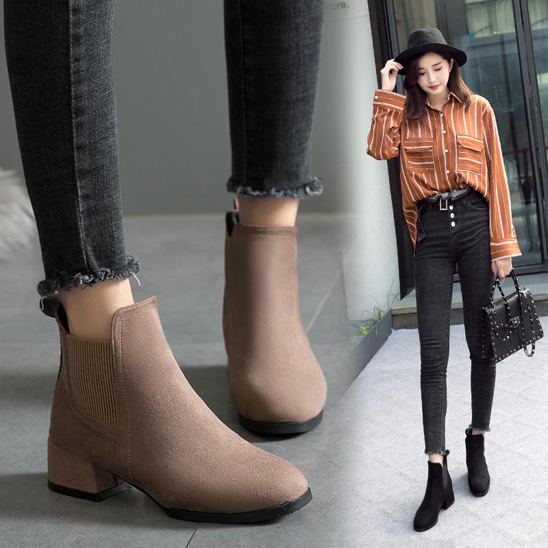 马丁靴女秋冬季2018新款百搭复古英伦风粗跟粗跟松紧带切尔西短靴