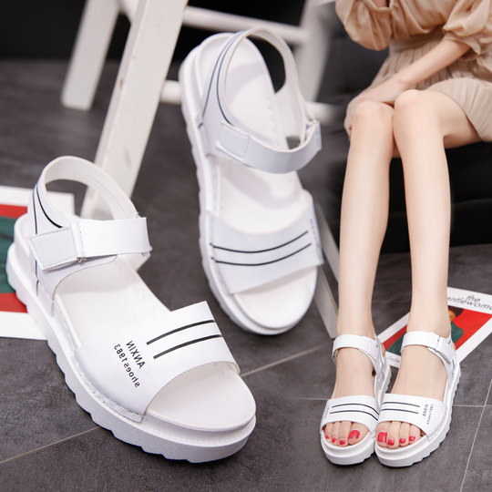 2018 summer new flat with low flat with muffin and thick female sandals wild Korean non-slip shoes student shoes