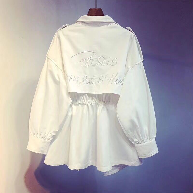 2018女装新款韩版夏风衣工装v女装中长款春秋宽松春装薄款秋季外套