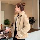 女加厚颗粒绒皮毛一体大衣毛呢外套