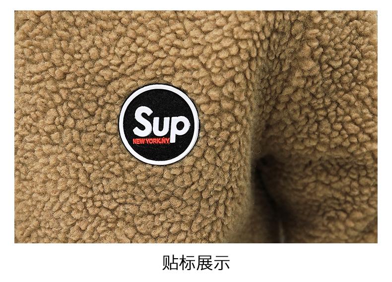 Coat men's autumn/winter 2020 new trend grain granulated velvet autumn jacket plus plus thick lamb jacket 62 Online shopping Bangladesh