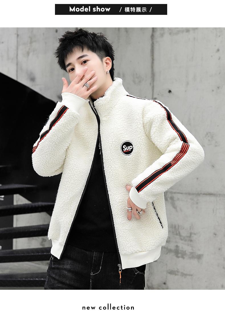 Coat men's autumn/winter 2020 new trend grain granulated velvet autumn jacket plus plus thick lamb jacket 49 Online shopping Bangladesh