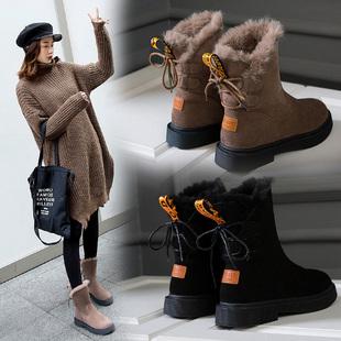 真皮加絨保暖雪地靴女新款時尚短靴