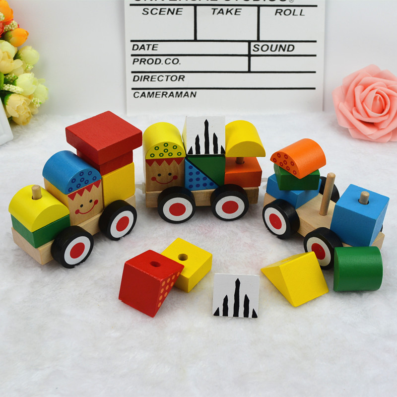 Children Wooden Train Boys And Girls Baby Puzzle Development 1 2 3 6 Year Old Building Blocks Assembled Toys
