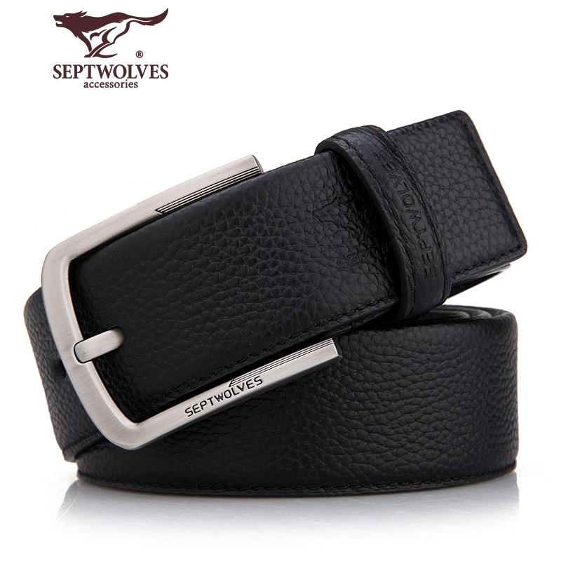 130aceba503f Genuine seven wolves brand men's belt buckle youth belt leather first layer  of leather jeans with Korean tide